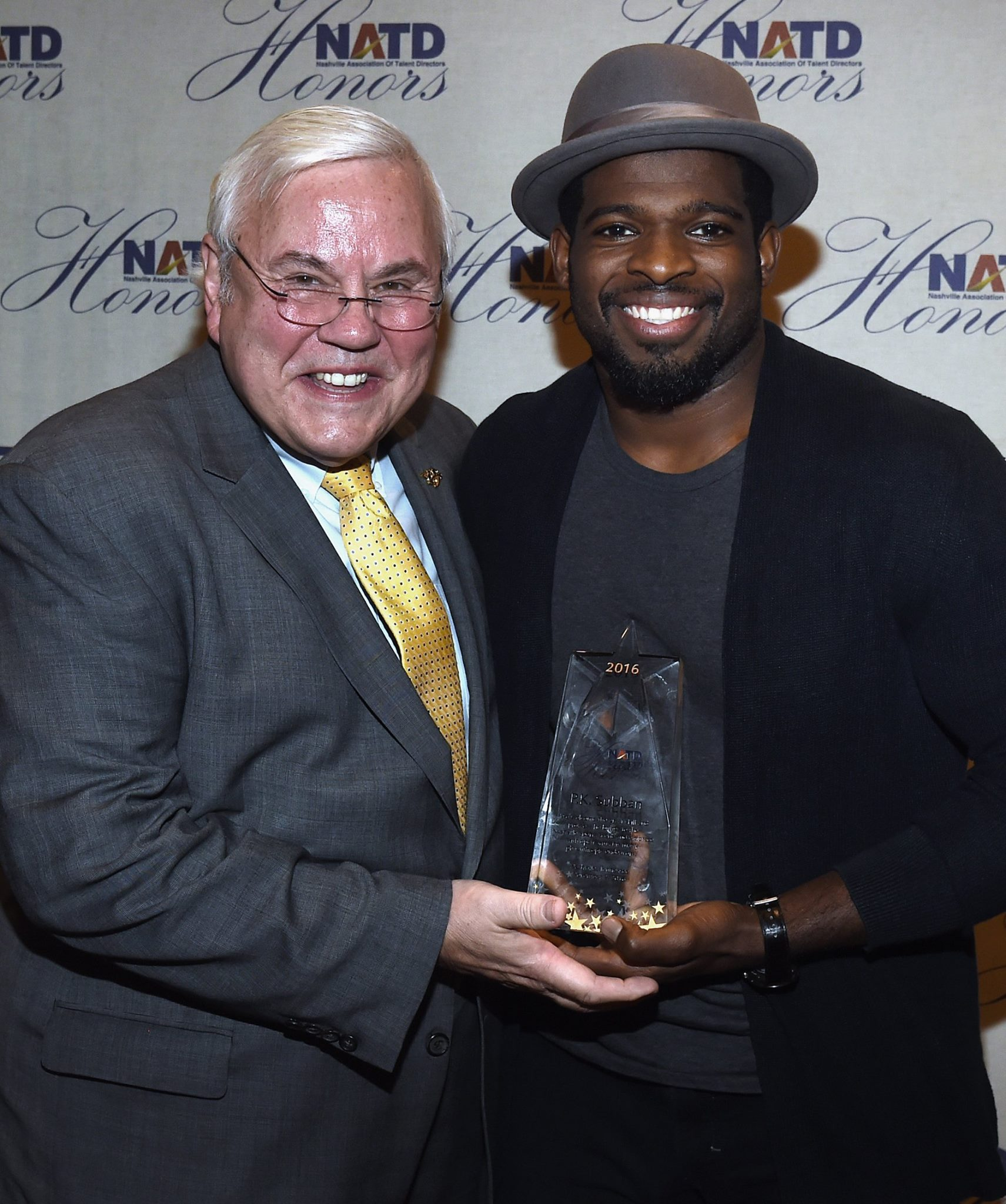 Voice of The Nashville Predators Pete Webber and Honoree P.K. Subban