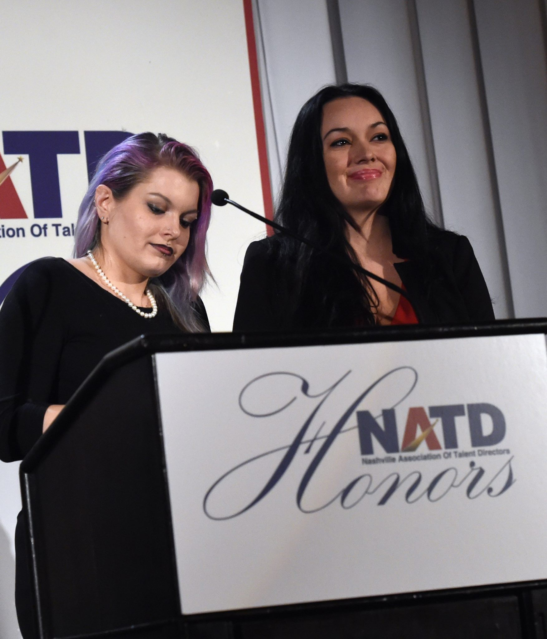Leon Russell's daughters CoCo Russell and Sugaree Noelk accept for their Dad, Honoree Leon Russell