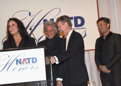 Mary Davis accepting on behalf of husband, Honoree Randy Travis, with Marty Stuart & Michael Ray